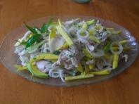 Green mango, brown onion chicken salad